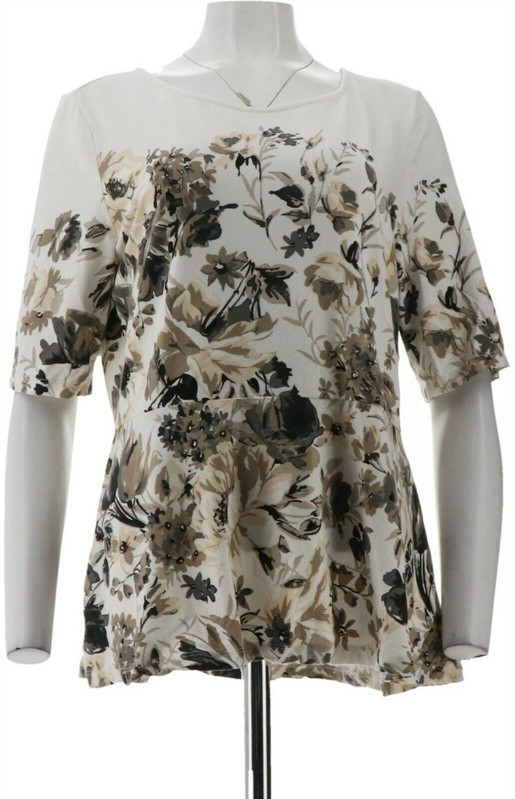 Primary image for Isaac Mizrahi Painterly Floral Print Elbow Slv Peplum Top Cream XS NEW A286132