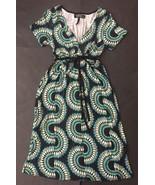Buffalo David Bitton Black Peacock Feather Dress S Green Blue V-Neck Empire - $14.84
