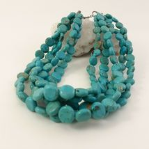 Multi Strand Turquoise Necklace 12mm Coin Beads image 3