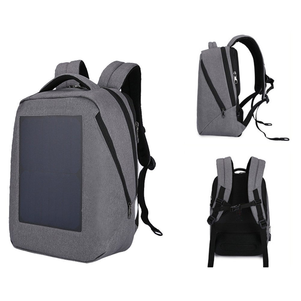 Samaz Solar Charger Backpack Waterproof Daypack with 10W Solar Panel Charger