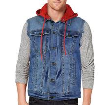 CS Men's Ripped Distressed Button Up Denim Jean Vest Removable Hood Slim Fit image 7