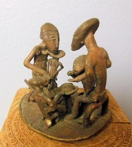 "Vintage Ashanti Brass Mini Sculpture Folkart Africa Family 2.5"" - $69.40"