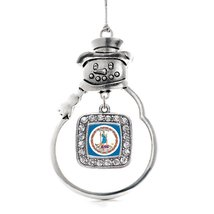 Inspired Silver Virginia Flag Classic Snowman Holiday Decoration Christmas Tree  - €12,87 EUR