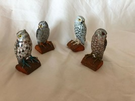 Wooden Owl 4 Vintage Figurines Set Hand Painted - $39.59