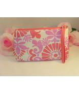 New Clinique Makeup Cosmetic Bag Case Purse Pink & Lavender Floral  Trav... - $10.99