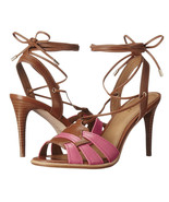 Coach Kiara Dahlia Saddle Leather Lace Up Sandal Heels Sz 9.5 NIB A01230 - $113.36