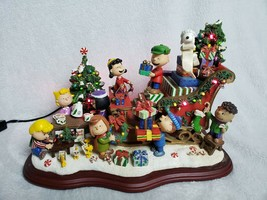 Danbury Mint The Peanuts Christmas Sleigh Lighted Figurine Holiday - $163.63