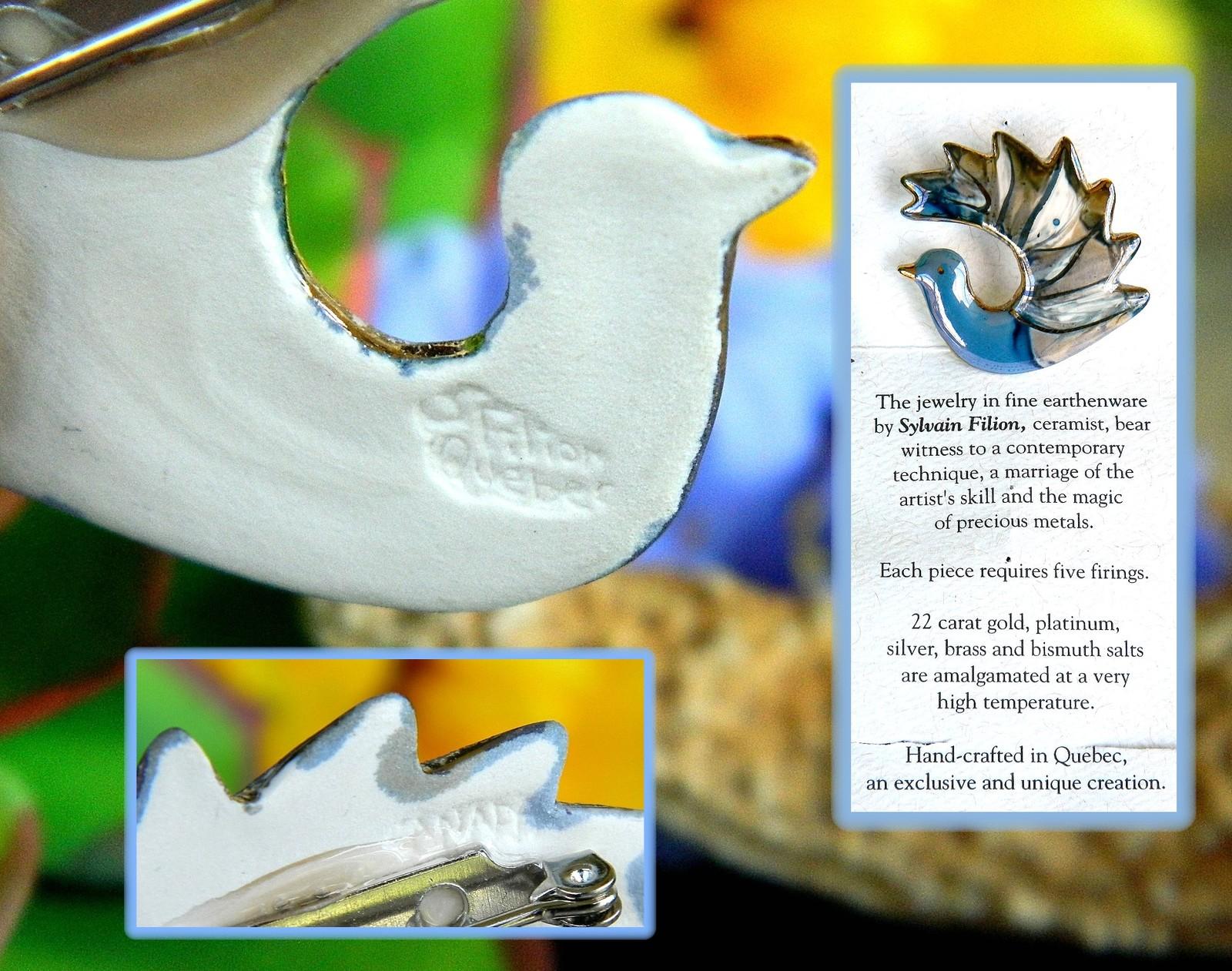 Vintage Dove Bird Brooch Pin Ceramic Enamel Sylvain Filion Quebec