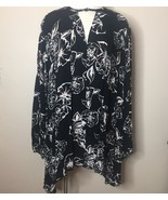 Free People Dress Floral Flowy Boho Festival Black White Asymmetric Hem ... - $35.90