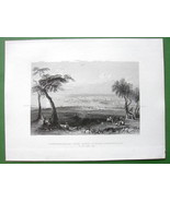 CONSTANTINOPLE View from Mount Burgurlhu - 1840s Original Antique Print - $22.57