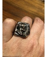 Vintage Large Silver Stainless Steel Native American Chief Size 11.5 Ring - $27.84