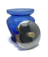 Vintage Cobalt Ritz Blue Depression Glass Mustard Condiment Jar Metal Li... - $27.91