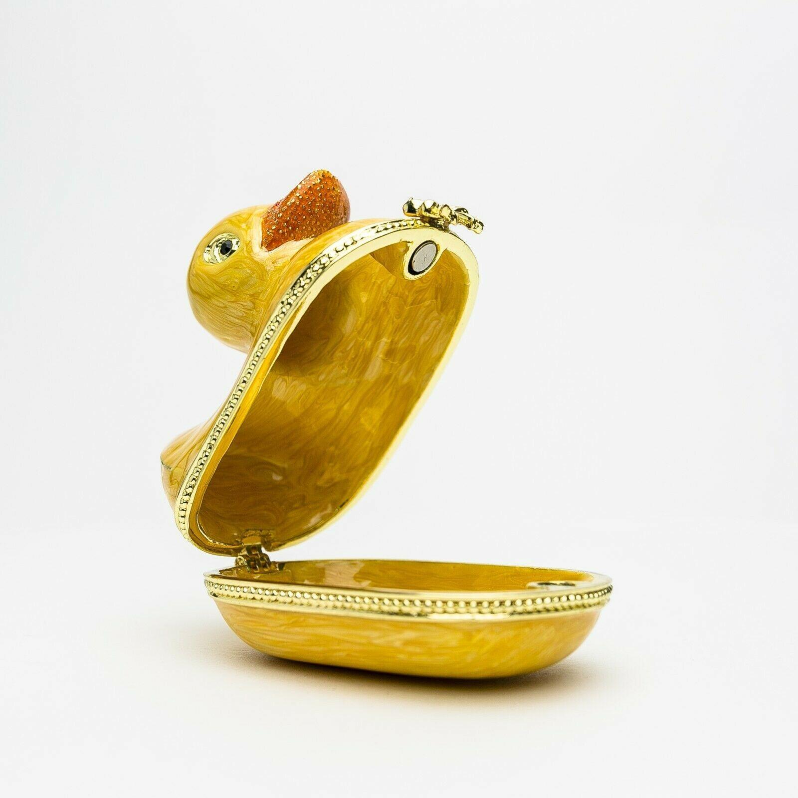 Duck trinket box hand made by Keren Kopal & Austrian crystals Faberge - $41.40