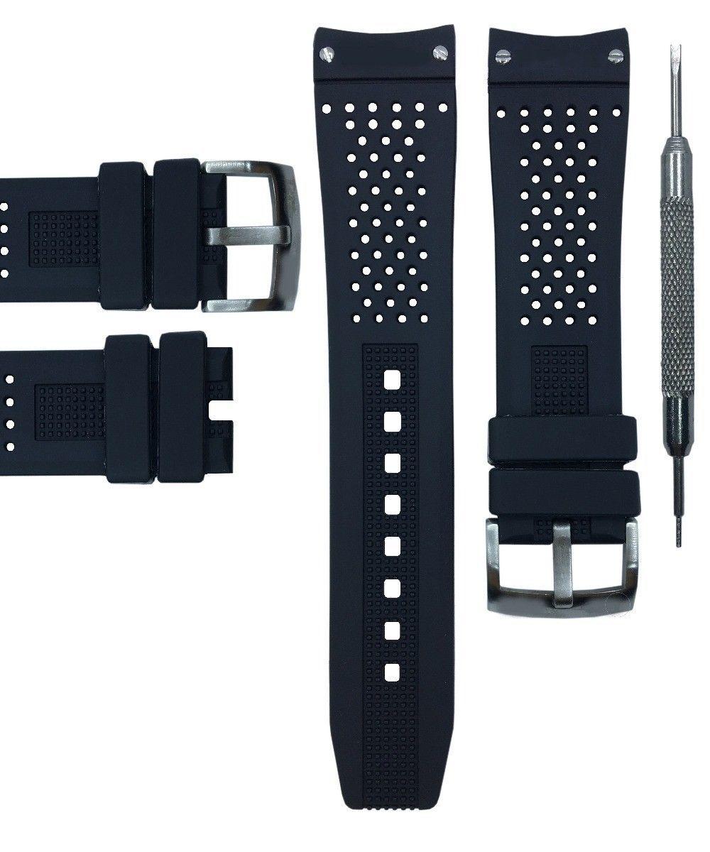 6fffc786974 Bracelet FOR TAG Heuer rubber Grand Carrera band BLACK noir 22mm w  Steel  buckl