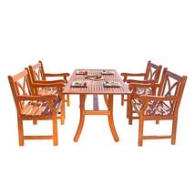 Malibu Eco-Friendly 5-Piece Wood Outdoor Dining Set with X-Back Arm Chai... - $724.32