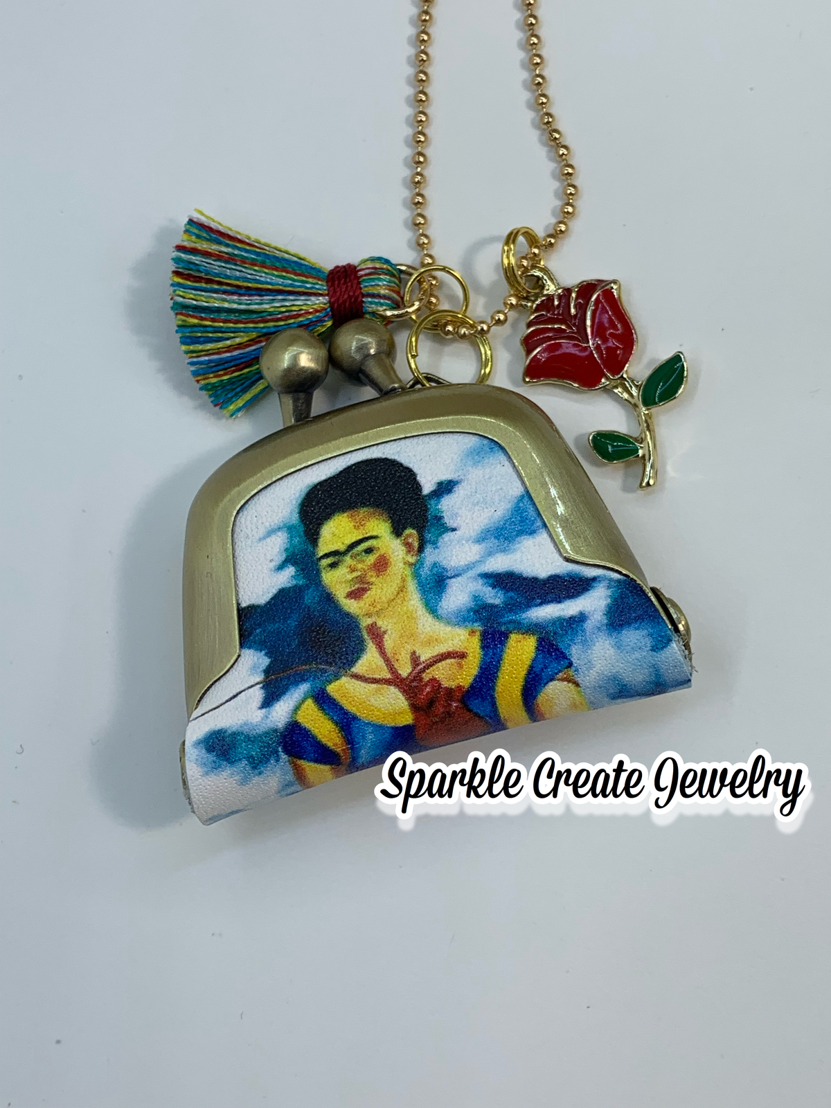 Frida Kahlo, Unicorn, and Marilyn Monroe Leather Pouch Purse Pendant Necklace