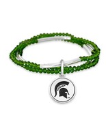 Michigan State Spartans Chloe Multi-line Green Bead Stretch Bracelet Jew... - $16.82