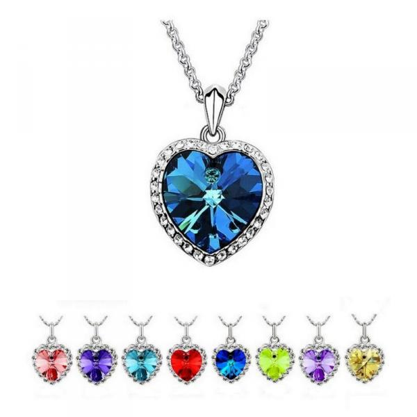 18K White Gold Plated Heart Swarovski Elements Crystal Necklace