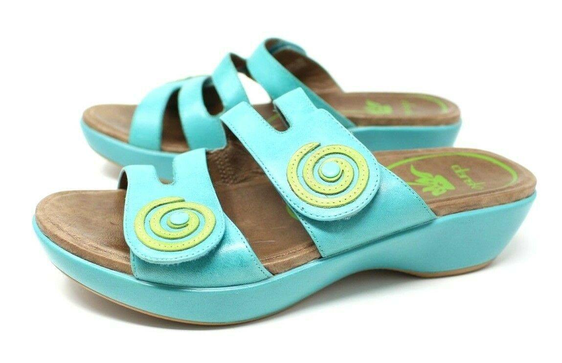 Dansko Women's 38 7.5 8 Turquoise Blue Dixie Sandals Slides Leather Artsy EUC image 3