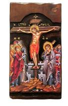 Wooden Greek Christian Orthodox Wood Icon of The Crucifixion of Jesus Christ / K - $158.30