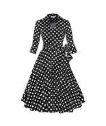 Hepburn Style A-line Dress Dot Big Peplum   black dot - $40.49