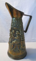 "Brass Vintage Pitcher 12"" Tall 6"" Diameter England Farmers Peasants Decorative - $12.00"