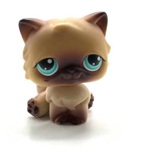 Littlest Pet shop LPS #22 Brown Tan Persian Cat Kitty Green teal aqua Eyes - $9.46