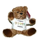 I support Adoption Plush Tan Teddy Bear Lovey Stuffed Animal wearing T-S... - $12.75