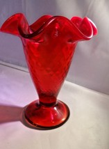 Fenton Art Glass Ruby Glass Diamond Optic Ruffled Vase 5688RU - $65.00