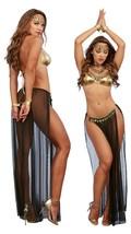 Gypsy Dancer 4 Piece Harem Gypsy Outfit Black & Gold One Size - $31.99
