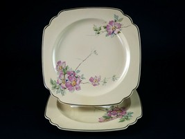 "Homer Laughlin Briar Rose Square Luncheon Plates 2 pc Set, Vintage 1930s 8 3/4"" - $19.60"