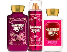 Bath & Body Works Raspberry Sugar Trio Gift Set  - $45.95