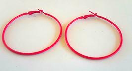 Vintage HUGE Bright Pink Enamel on Metal Hoop Earrings - $1.99