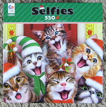 Ceaco Selfies Christmas Cats 550 Piece Jigsaw Puzzle w/ Poster Complete - $10.00
