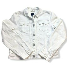 Gap Kids Girls White Denim Jacket Snaps Pockets XL Easy Fun Bright Fall - $15.88
