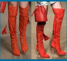 Tall Russet Suede Leather Lace Up Stiletto High Heel Zip Up Over The Knee Boots