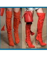 Tall Russet Suede Leather Lace Up Stiletto High Heel Zip Up Over The Kne... - $373.95