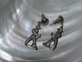 Vintage Silvertone Dancing Man Dangle Post Earrings for Pierced Ears – 1... - $8.59