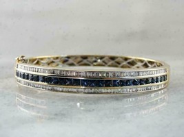 7 Ct Vintage Blue Sapphire & Diamond 14k Yellow Gold Over Bangle Bracelet - $182.44