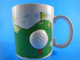 Vintage  Golf Mug with 3 D Golf Ball on Tee Coffee Mug Cup Russ - $7.91