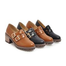Shoes Women's Woman 2018 Toe Round Platform Chunky Karinluna Double Buckle Heel 4wHHq5