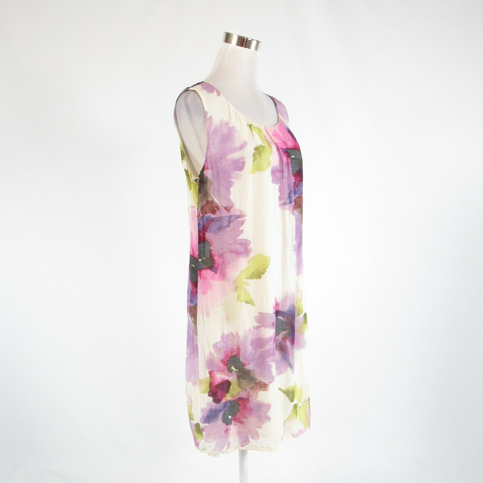 White purple floral print ANN TAYLOR LOFT sleeveless shift dress 10 image 3