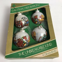 Vintage 1977 Bradford The Unbreakable Kind Set Of 4 Christmas Ornaments - $14.84