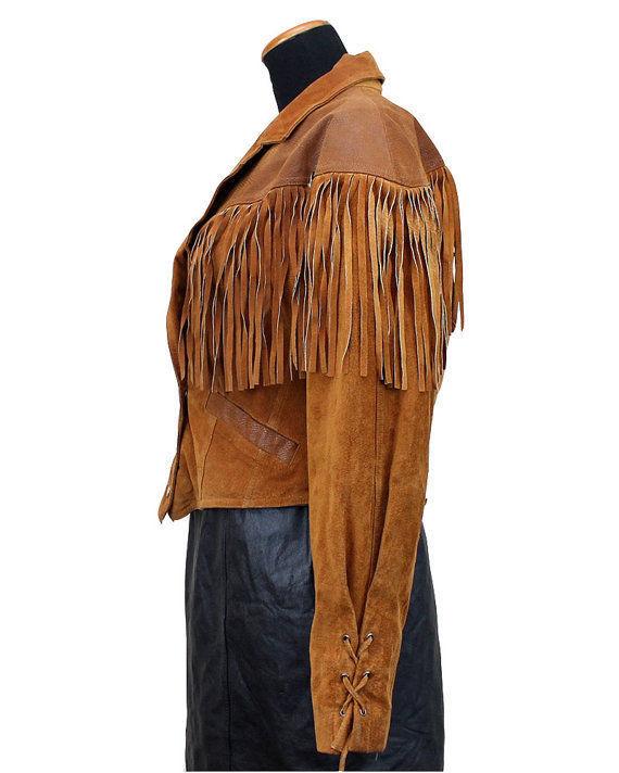 WOMEN'S NEW POPULAR TAN WESTERN FRINGES CONCHO LEATHER HIPPY JACKET WWJ61 image 5