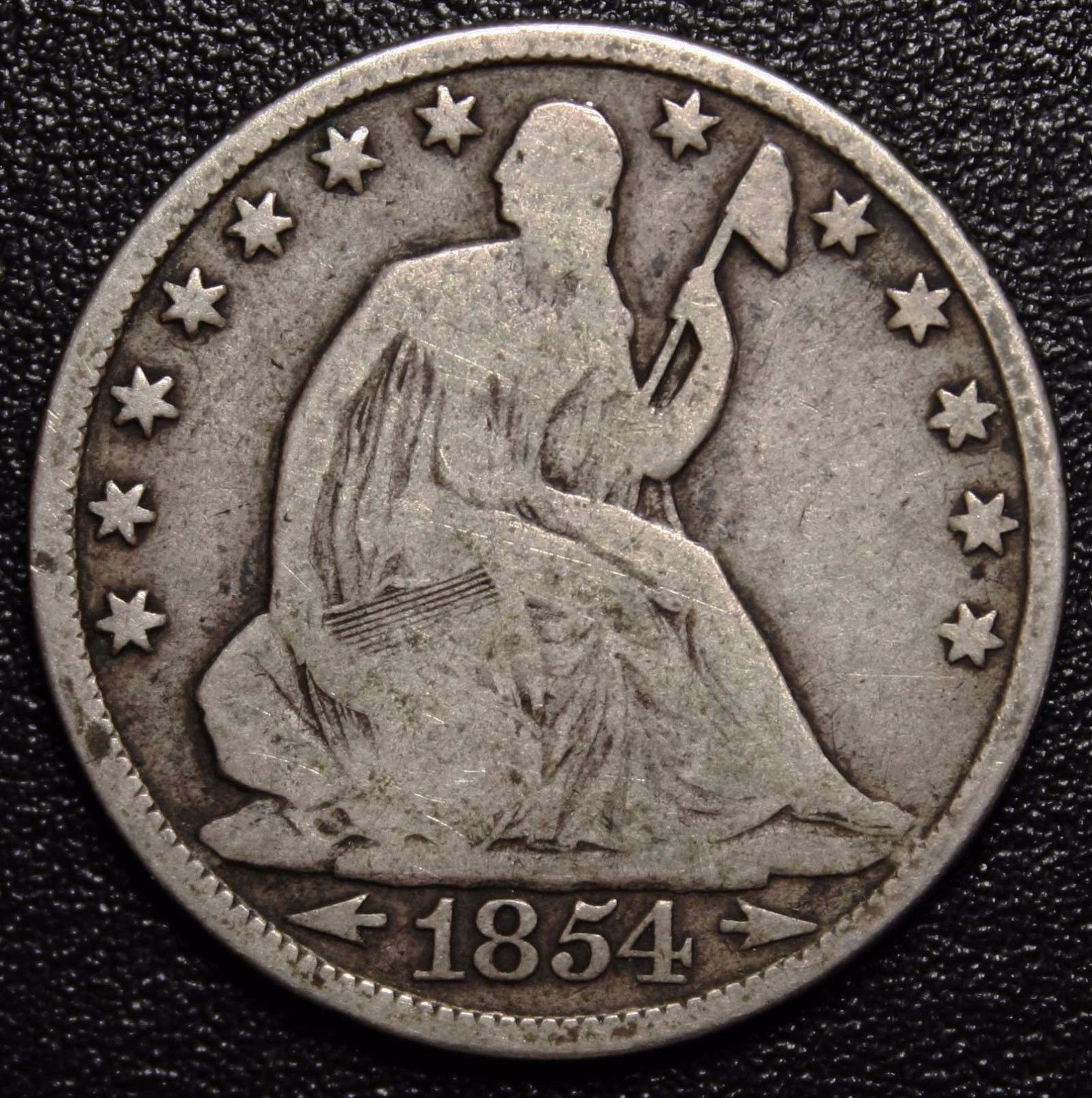 1854O Seated Silver Liberty Half Dollar 50¢ Coin Lot# MZ 4595