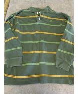 Old Navy Perfect Fit Children's White, Green, Brown Stripes Shirt Sz. Me... - $4.99