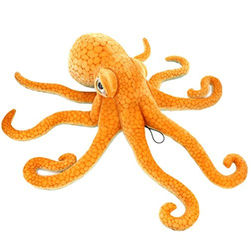 JESONN Giant Realistic Stuffed Marine Animals Soft Plush Toy Octopus Orange,33.5