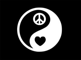 YIN YANG Peace Heart Love Tao, Vinyl Decal, high quality, white, CHOOSE ... - $2.58+