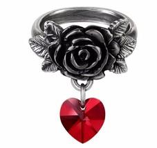 Cherish Ring Black Rose Pewter Red Crystal Heart Dropper Alchemy Gothic R214 - $23.50