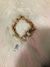 Michael Kors Heritage Rose Gold Logo Toggle Lock Link Chain Bracelet - $68.31